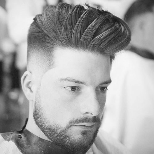 Picture Of Menu0027s Short Haircut Thatu0027s Long On Top With A Drop Fade