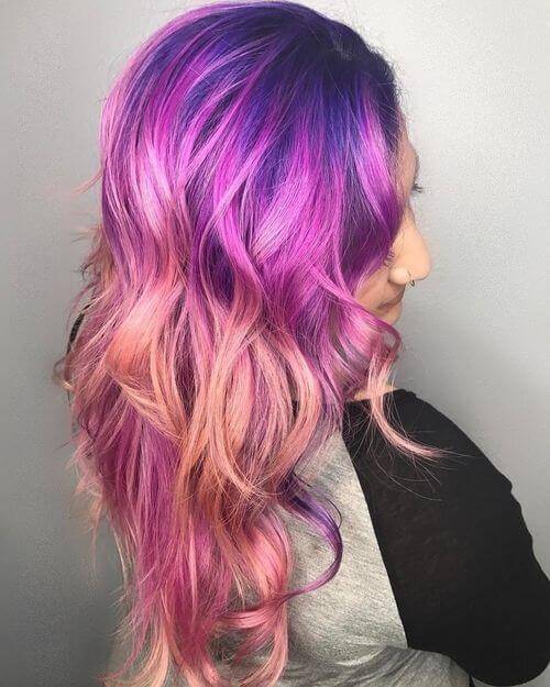 Long ombre pink and purple
