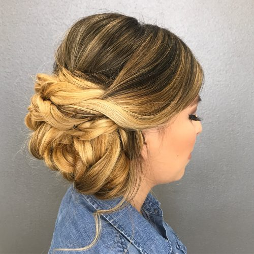 Picture of a long romantic updo for prom