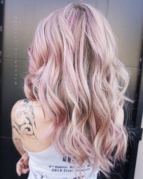 Long rose gold blonde hair