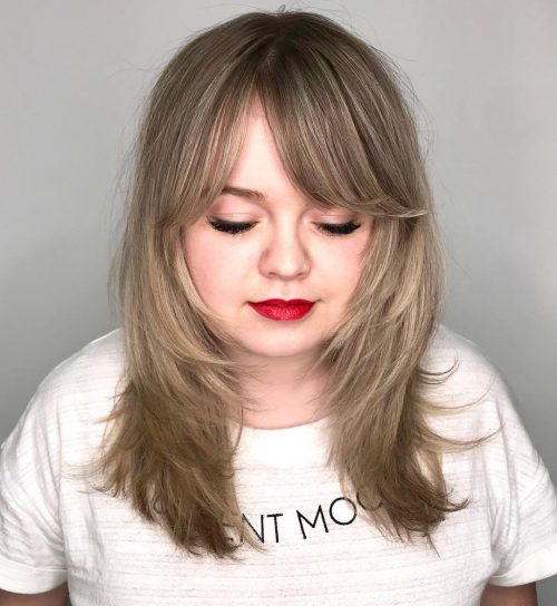 long side bangs for women with round face