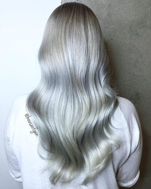 A long dark silver hairstyle for women
