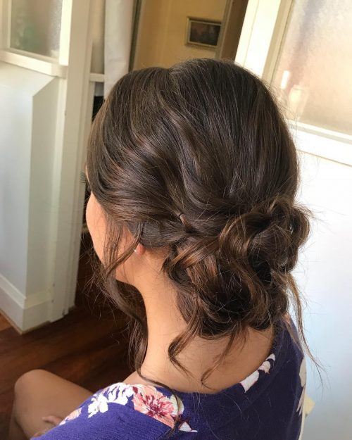 Picture of a loose low bun messy updo
