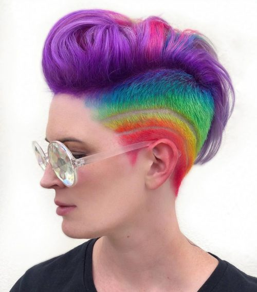 Lovely Rainbow Colors on Short Hair