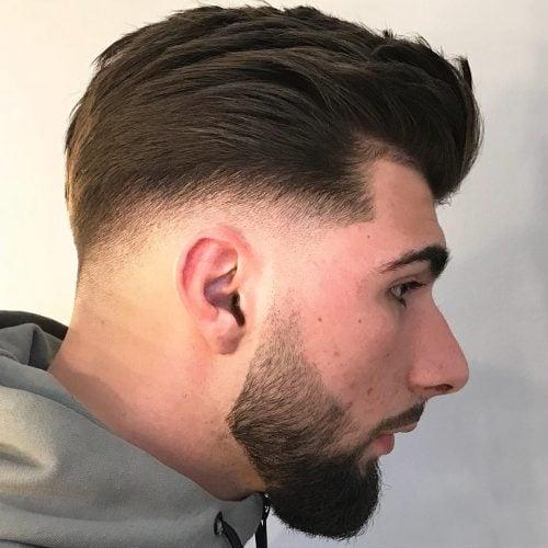 Low fade pompadour haircut