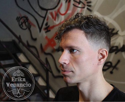 Low fade with curly hair