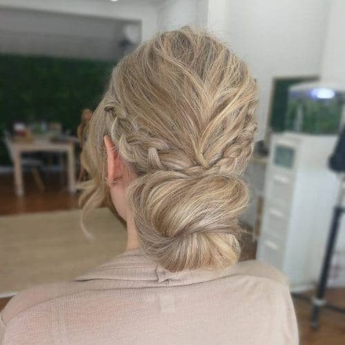 Low Bun with Textured Braids hairstyle