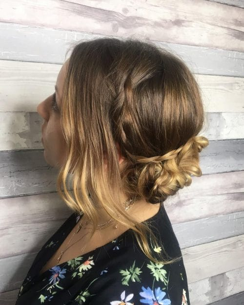 Low Side Bun With Plait hairstyle