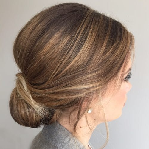 Low Textured Chignon hairstyle