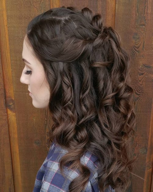 Picture of a magnificent curled half updo for espresso brown hair