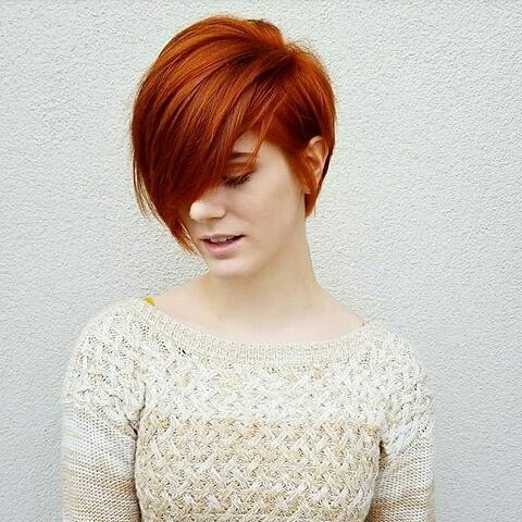 Picture of a magnificent short bob with dark copper red color