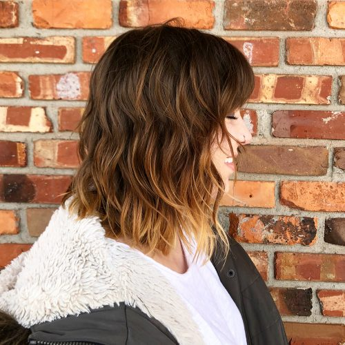 Picture of a marvelously layered shoulder length bob