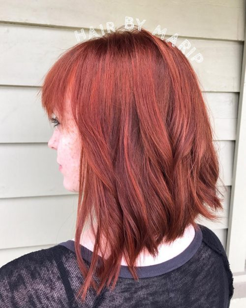 Medium Angled Bob with Bangs for Fine Hair