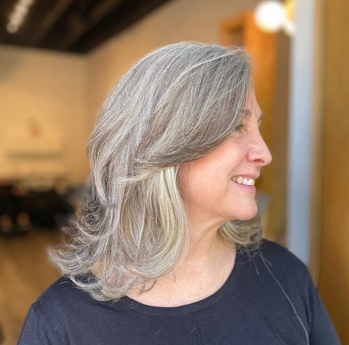 Medium feathered layers for women over 50