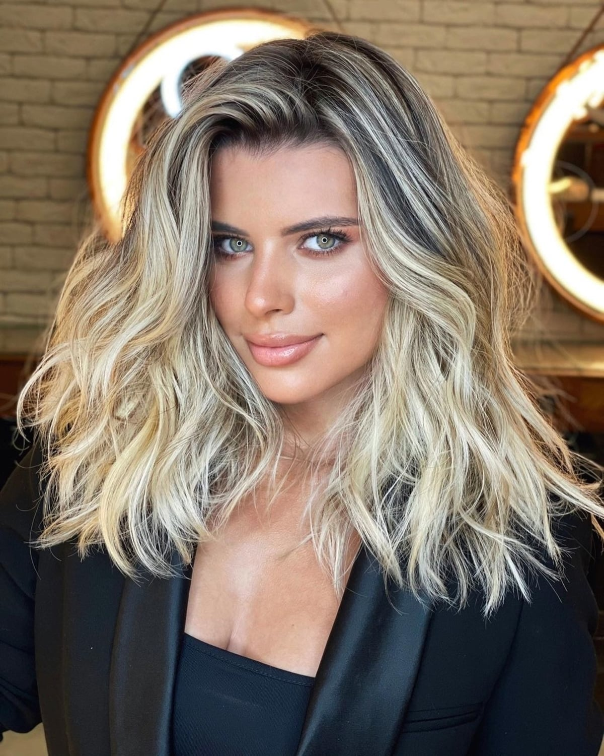 Medium Hairstyle With thick hair and Deep Side Part