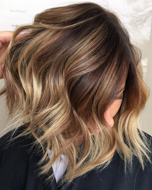 Picture of a medium length hairstyle with a caramel ombre