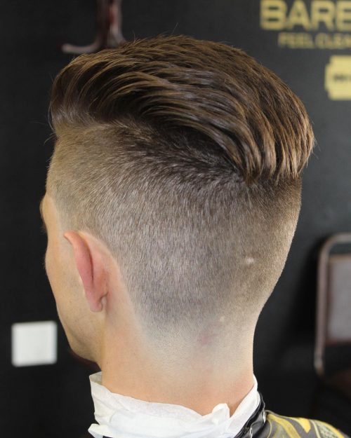 Medium length hair with taper fade