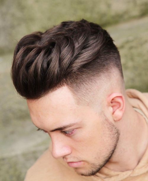 Disconnected medium length haircut for men