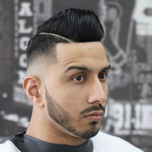 Skin fade to mountain high pompadour haircut