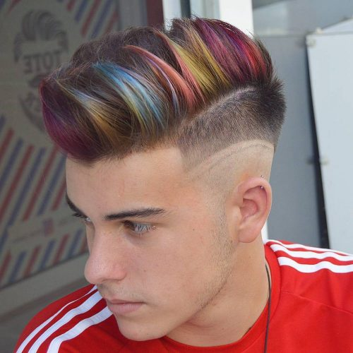 Men's fade with hair color