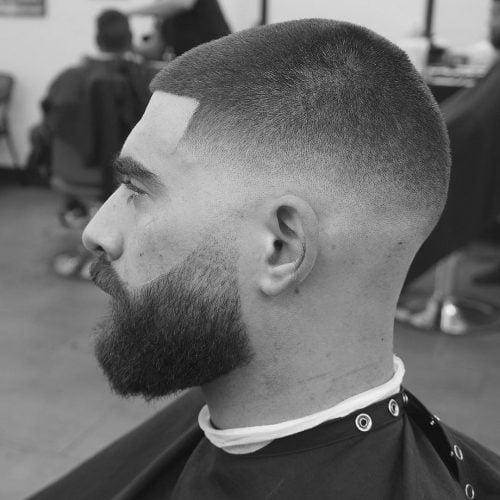 Picture of a men's short burr cut fade
