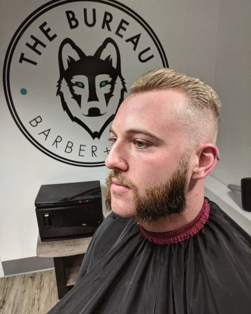 Bald fade haircut on man with thin hair
