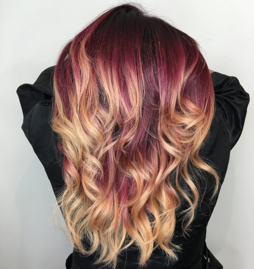 merlot melt balayage hair color