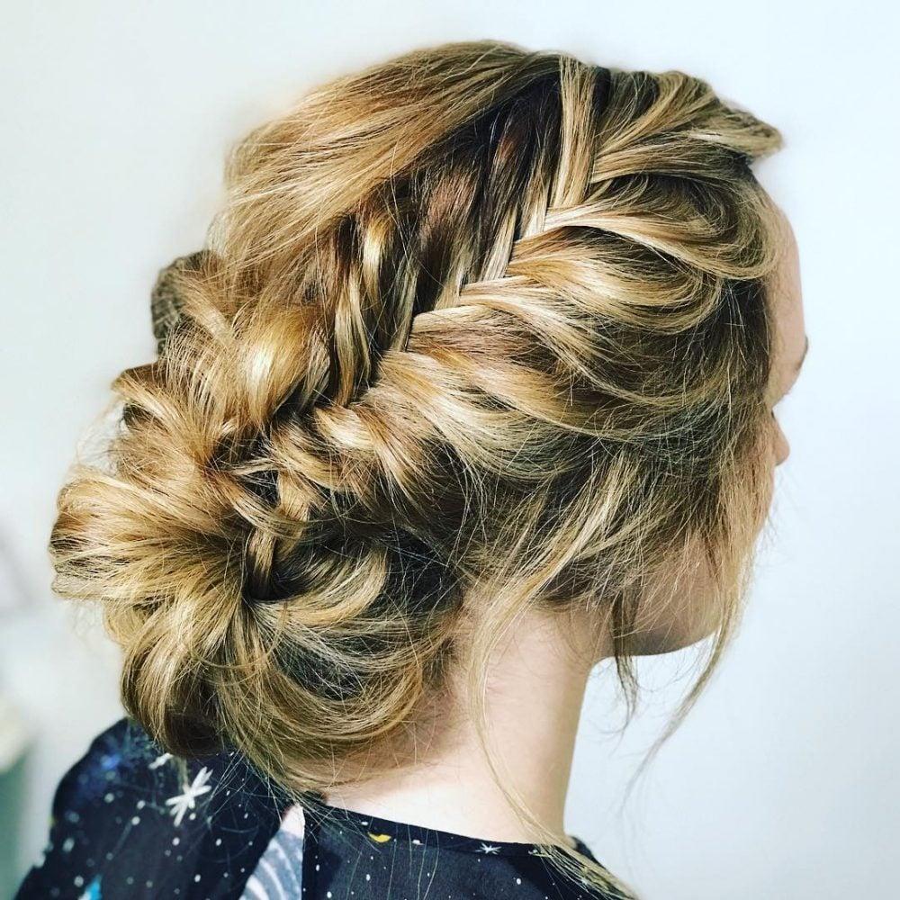 Messy Bun + Fishtail Braid hairstyle