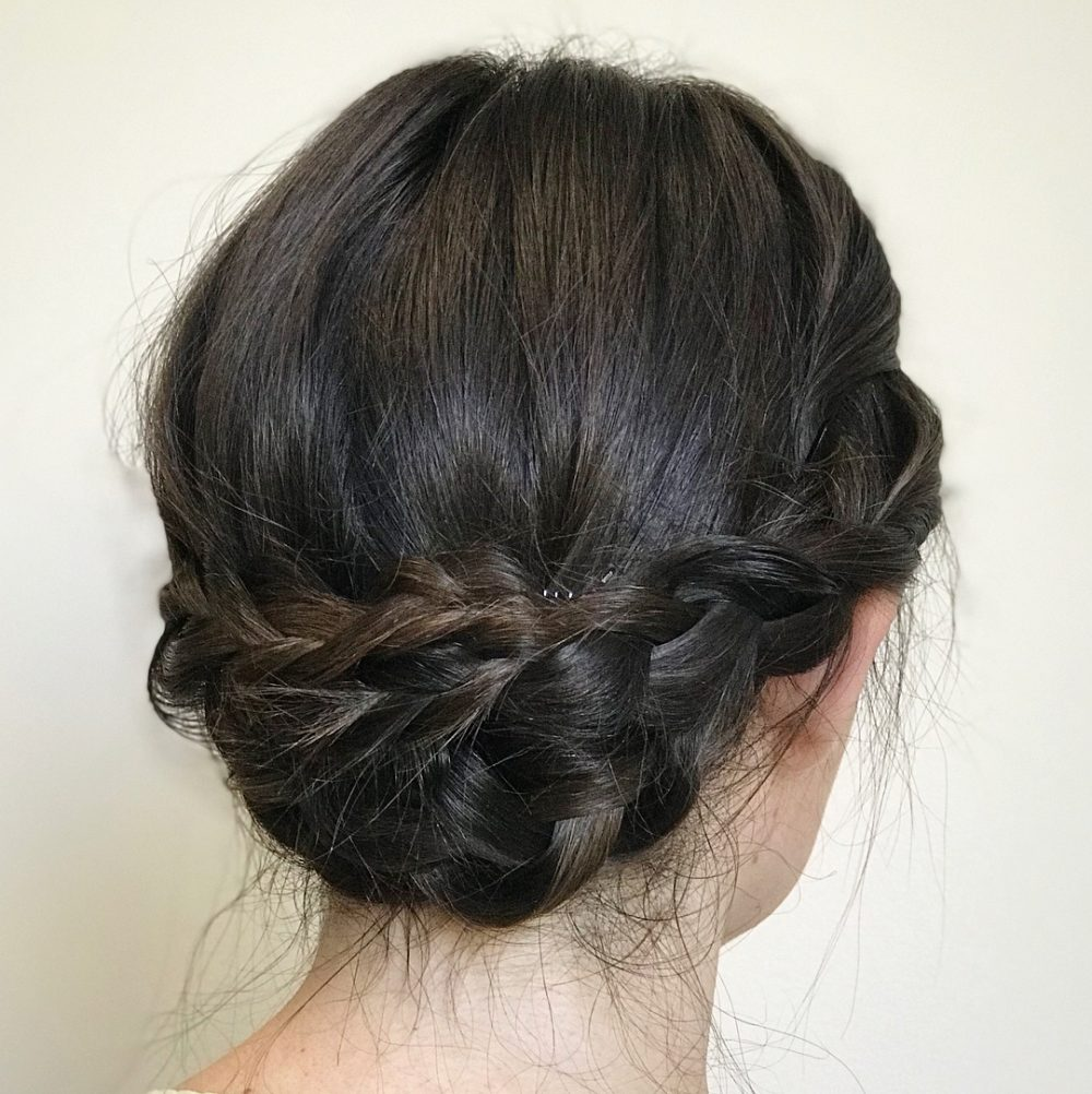 Messy Four Braid Updo hairstyle