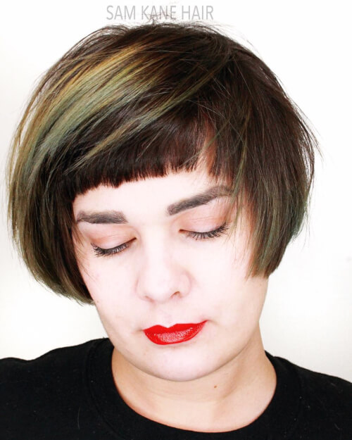 microbob cropped fringe haircut