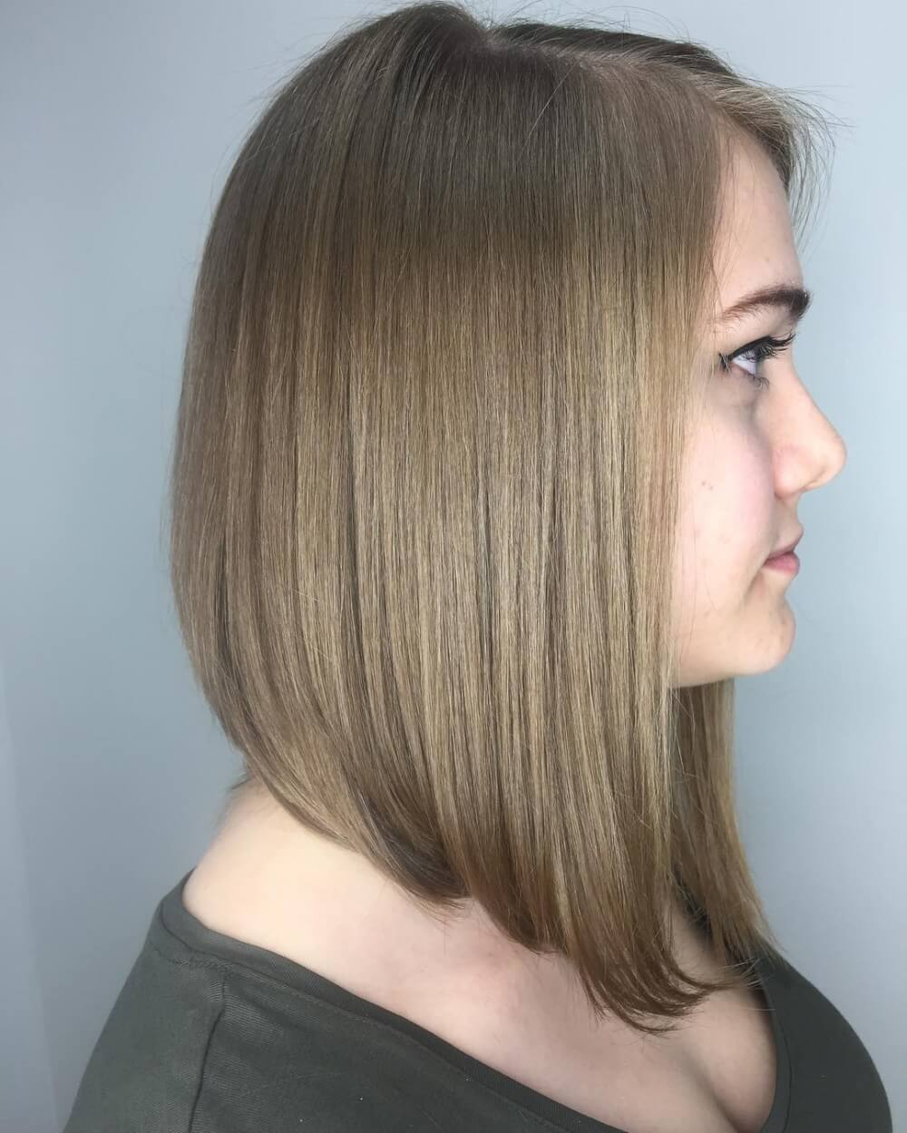 Versatile shoulder-length angled bob haircut