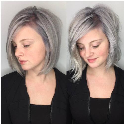 Picture of a silver and lavender hair color