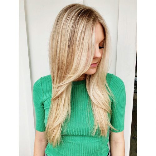 Middle Part long blonde hair with layers