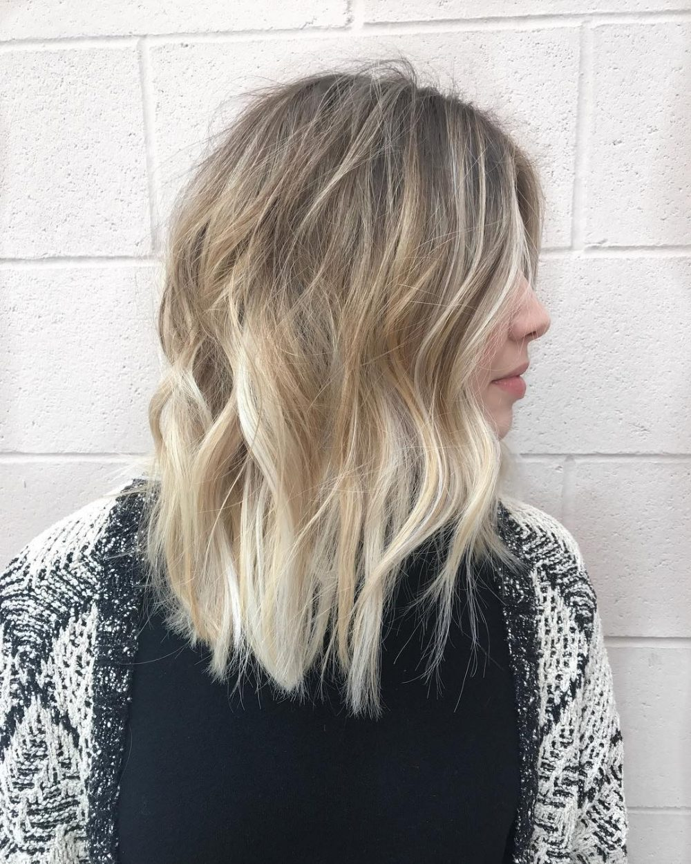 Ash Blonde to Bright Blonde Ombre LOB