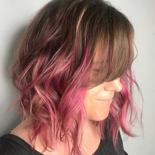 Mocha Brunette to Pink Long Bob