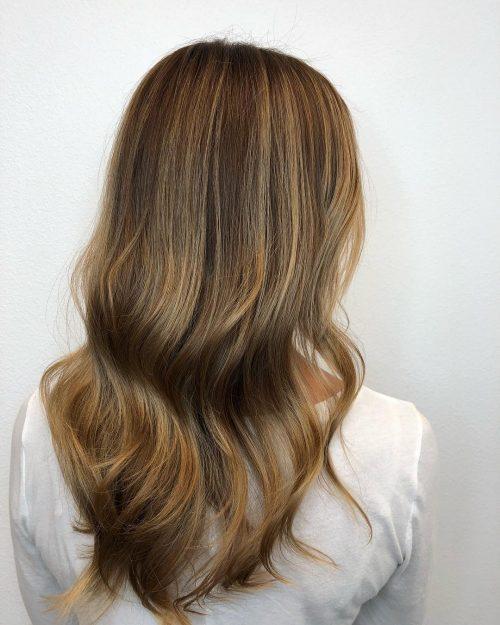 Mocha hair with honey hues
