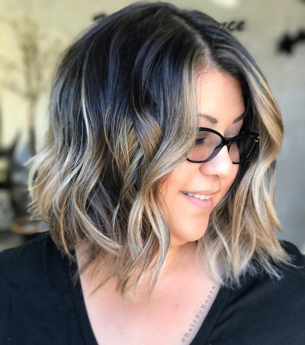 modern highlights for medium wavy hair