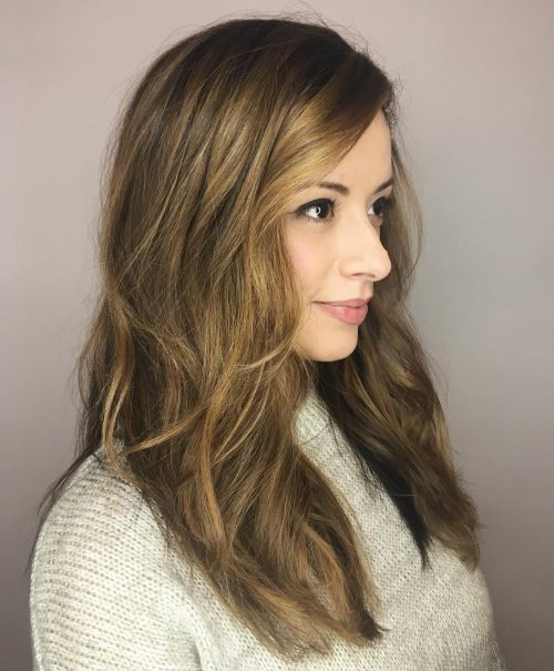 Picture of modern layers long hairstyle for square face