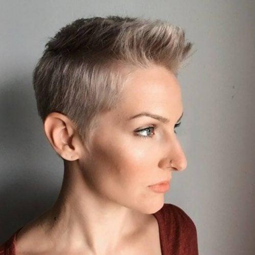 Modern steel blonde Pixie Cut