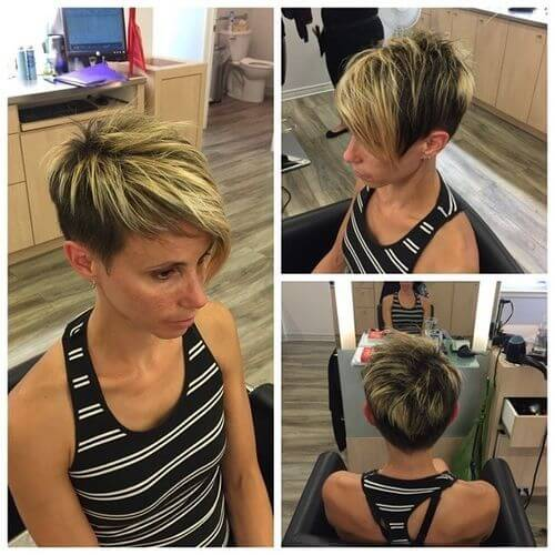 multiple views of a pixie cut