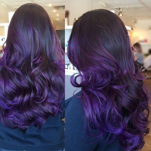 Multi Tonal Amethyst Balayage Hair Color