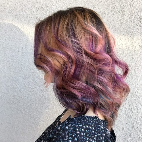 Multi-Colored Lob hairstyle
