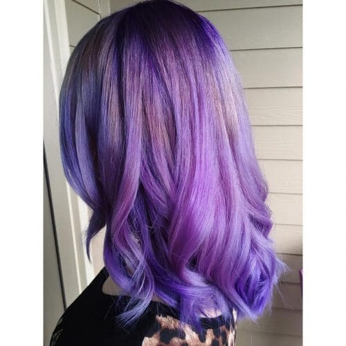 Multi-Dimensional shoulder length purple hair