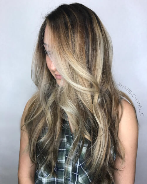 multidimensional tones balayage color