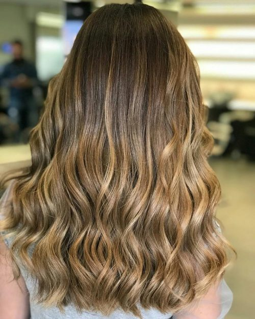 A natural brown hair color with blonde highlights