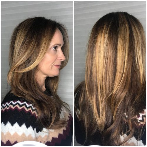 Dark Brown And Caramel Highlights