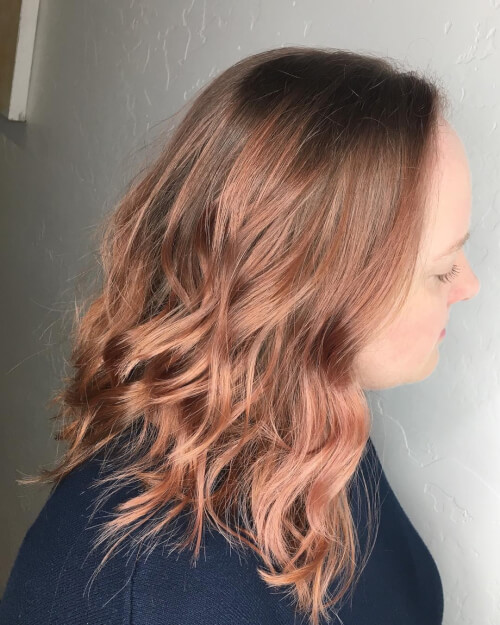 natural rose gold blend hair color