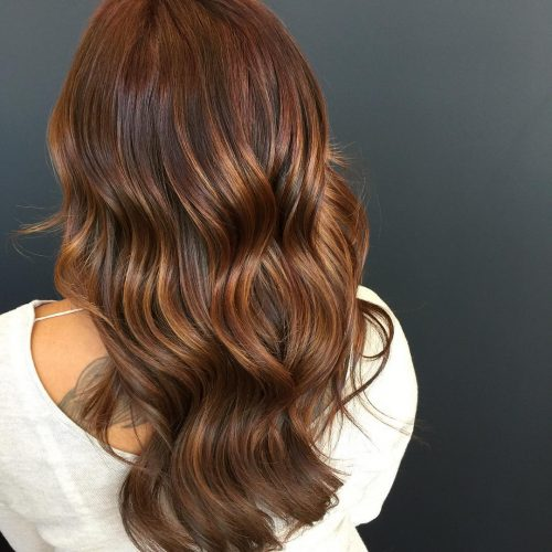 Picture of a natural tone on tone caramel brown hair