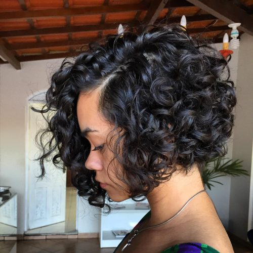 Naturally Curly A-Line Bob for Dark Skin
