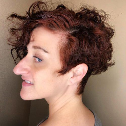 Naturally curly auburn hair color